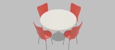 カフェチェア赤&丸テーブル
