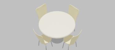 カフェチェア白&丸テーブル