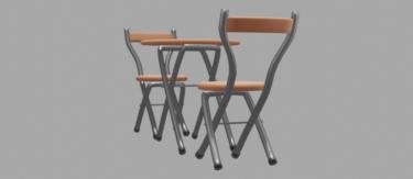 丸パイプテーブルとパイプ椅子